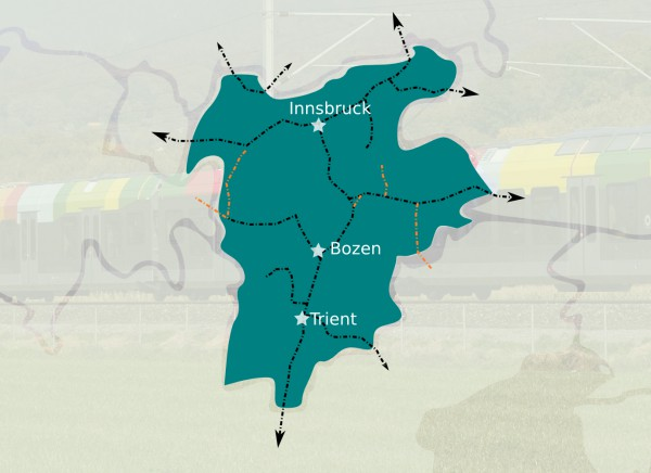 Das Bahnnetz in Tirol und seine Zukunft. Graphik: UT24