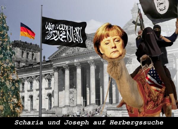 Scharia und Joseph auf Herbergssuche. Photomontage: UT24
