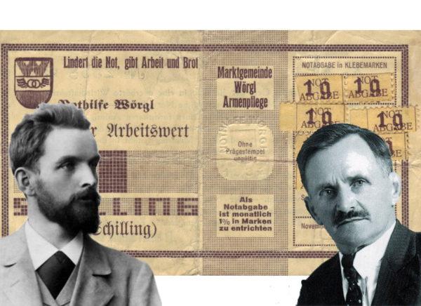 Das Wunder von Wörgl. Silvio Gesell (l.), Michael Unter guggenberger (r.) PM: UT24 / Gemeinfrei