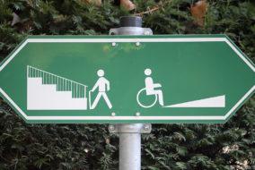 Rampe, Hinweis, Rollstuhl, Richtungsweiser, Behinderung, Gehbehindert