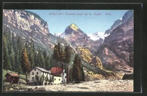 AK-Heilige-Drei-Brunnen-Kapelle-mit-Gebirgspanorama
