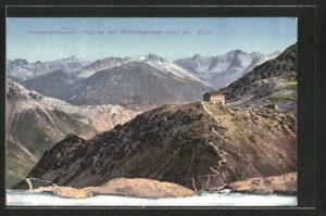 AK-Stilfserjoch-Passo-dello-Stelvio-Dreisprachenspitze-mit-Silvrettagruppe