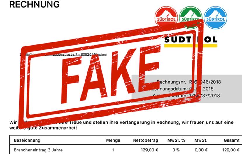 Achtung Vor Gefälschten Rechnungen Mit Südtirol Logo Unsertirol24